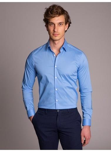 Dufy Sıyah Ince Sık Dokuma Klasık Erkek Gömlek - Ekstra Slım Fıt Mavi